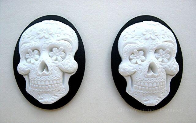 2 Goth Emo Day of Dead WHITE SUGAR SKULL w/ FLOWERS on BLACK 40mm x 30mm CAMEOS