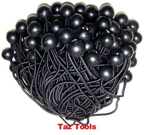 "100pcs 6/"" Black Ball Bungee Bungie Cord Heavy Duty Canopy Tarp Tie Downs Straps"