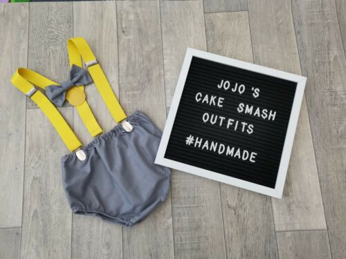 Grey//yellow  Braces.handmade. Baby Boys 1st Birthday Cake Smash Outfit// Prop