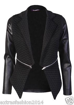 New Womens Ladies Quilted PVC Waterfall Full Sleeves Zip Blazer Jacket Coat Top