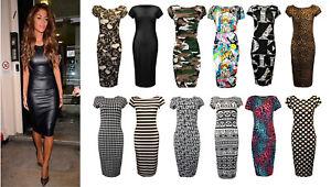 Womens Ladies Plain Jersey Cap Sleeve Crew Neck Bodycon Midi Dress Size UK 8-26