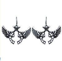 Rhinestone Guns And Wings Earrings Pistol Fashion Jewelry Western Cowboy