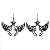 Rhinestone Guns And Wings Earrings Pistol Fashion Jewelry Western Cowboy