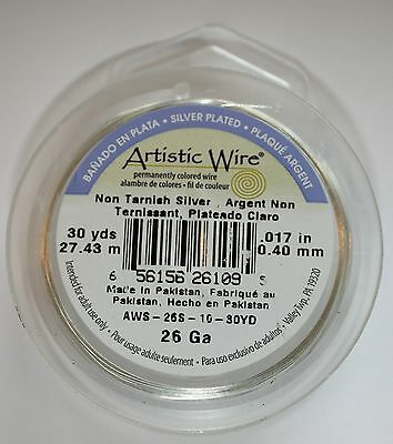 Artistic Wire 18 Gauge Non-Tarnish SILVER 20ft craft jewellery wirework beading