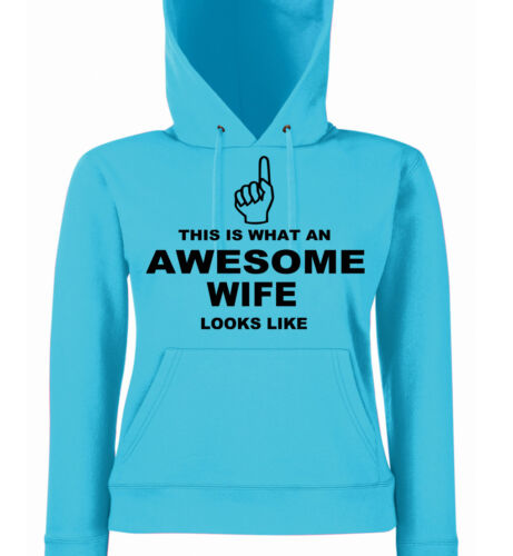 Gift Sizes 8-18 This is What an Awesome Wife Looks Like Ladies Fit Hoodies