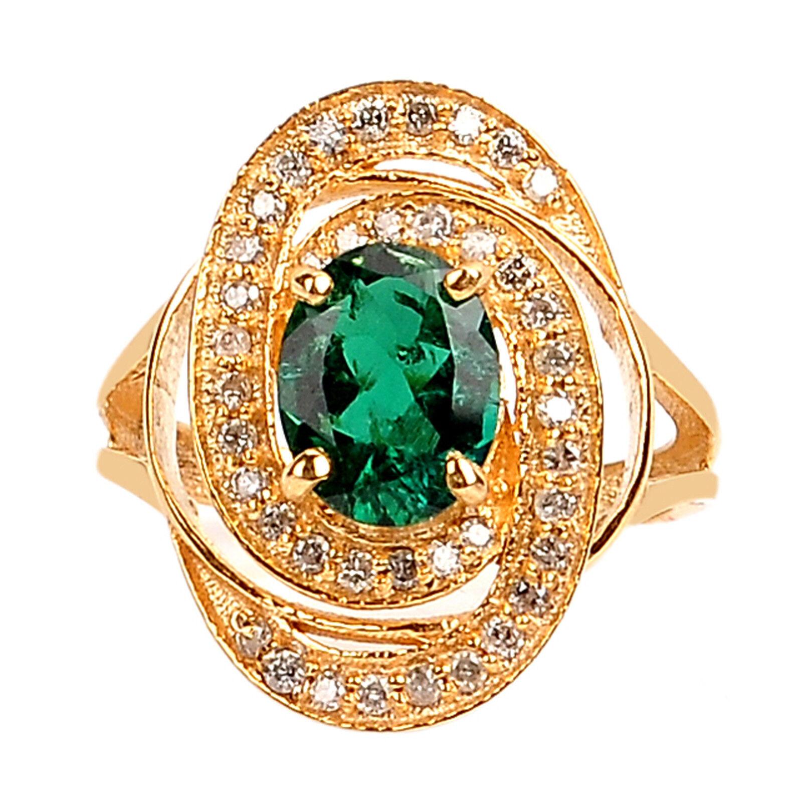 14KT Yellow gold 1.50 Carat Natural Green Emerald EGL Certified Diamond Ring