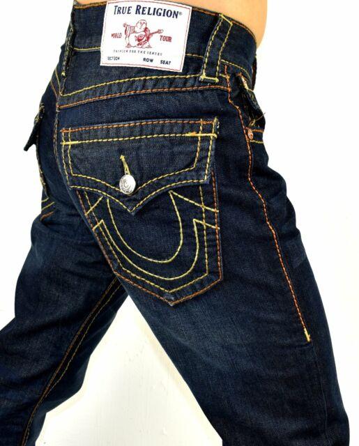 True Religion Men's Ricky Dark Baron Rinse Relaxed Straight Big T Jeans 102279