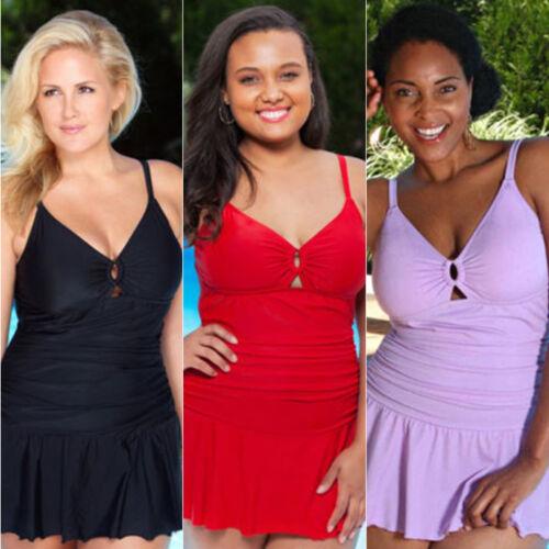 Plus Size Women Swimdress Padded Swimsuit Tankini Set Swimwear Beachwear Bathing