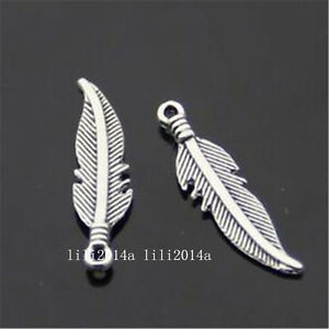 30pc-Tibetan-Silver-Charms-2-Sided-Feather-Pendant-Beads-Accessories-PL651