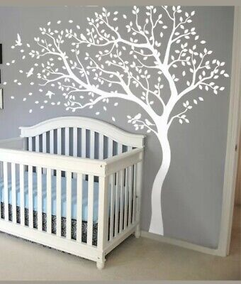 Large tree murals Wall tree decals with birds stickers Nursery tree decals 098