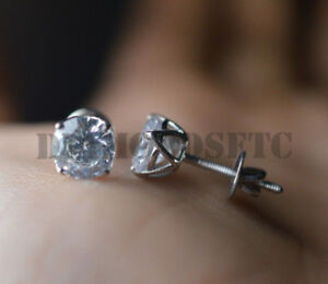 1-5CT-Stud-Earrings-Simulated-Diamond-Solitaire-For-Women-14K-White-Gold-Finish