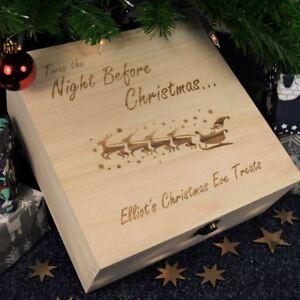 Vigilia-DI-NATALE-BOX-Personalizzato-Vigilia-di-Natale-Scatola-incisi-in-Legno-Babbo-Natale-slitta