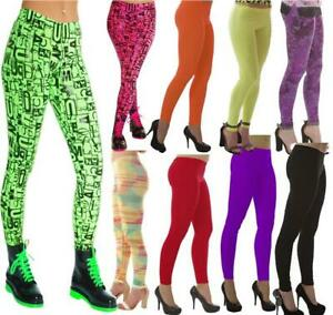 PLAIN-NEON-TUTU-LEGGINGS-80-039-S-FANCY-DRESS-GOTH-PARTY-LADIES-WET-LOOK-GRAFFITTI