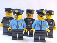 LEGO 5 Police Policeman Minifigure Figure   Officer City Black Blue