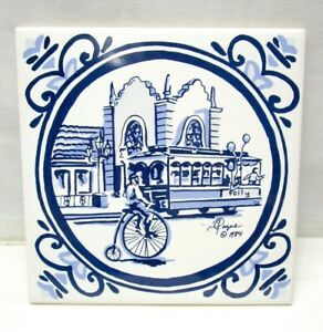 Vintage Carolyne Payne Creations Country Club Plaza Trolley Stop Tile Trivet