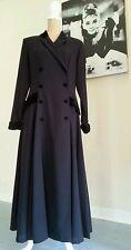 Laura Ashley long black vintage riding style dress coat with velvet collar