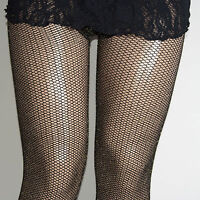 Holiday Plus Size Gold Lurex Sparkle Blk Fishnet Tights 1/2 3/4 Collant Couture