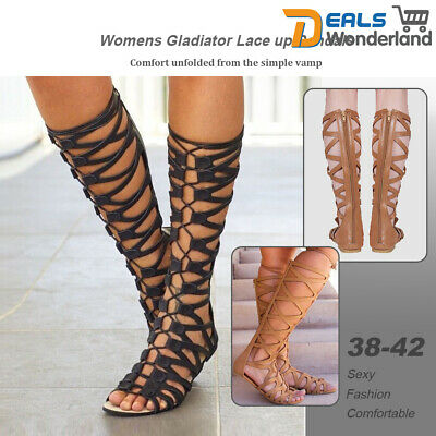 Womens Knee High Cut Out Lace Up Flat Sandals Gladiator Shoes Size 38 42 | eBay