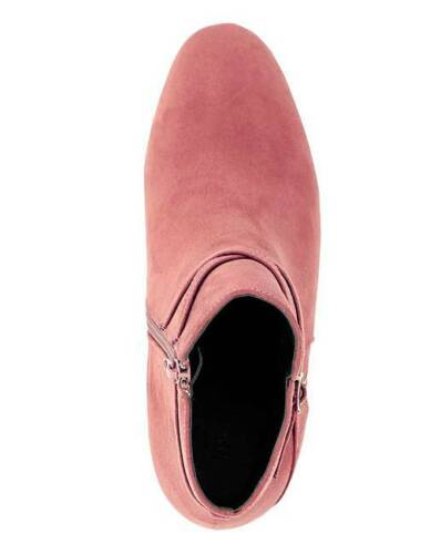 WOMENS PINK EXTRA WIDE FIT EEE ANKLE BOOTS LOW-HEEL ZIP-UP COMFY SHOES SIZES 4-9