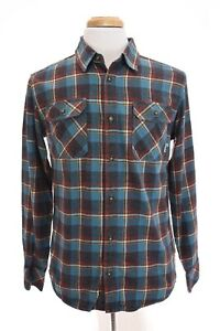 Burton-Double-Goods-Mens-Brighton-Flannel-Button-Down-Shirt-Plaid-Blue-Sz-M
