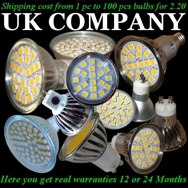 10 x GU10 E14 MR16  20,24,60 SMD LED DAY & WARM Weiß DIMMABLE or NON - WARRANTY
