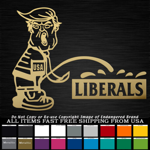 Trump Pee on Liberals Politics Republican USA Flag Sticker