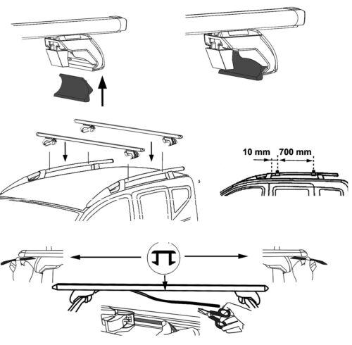 Dachträger Relingträger Aurilis Trek CC für Fiat Doblo II Kasten ab 10 //