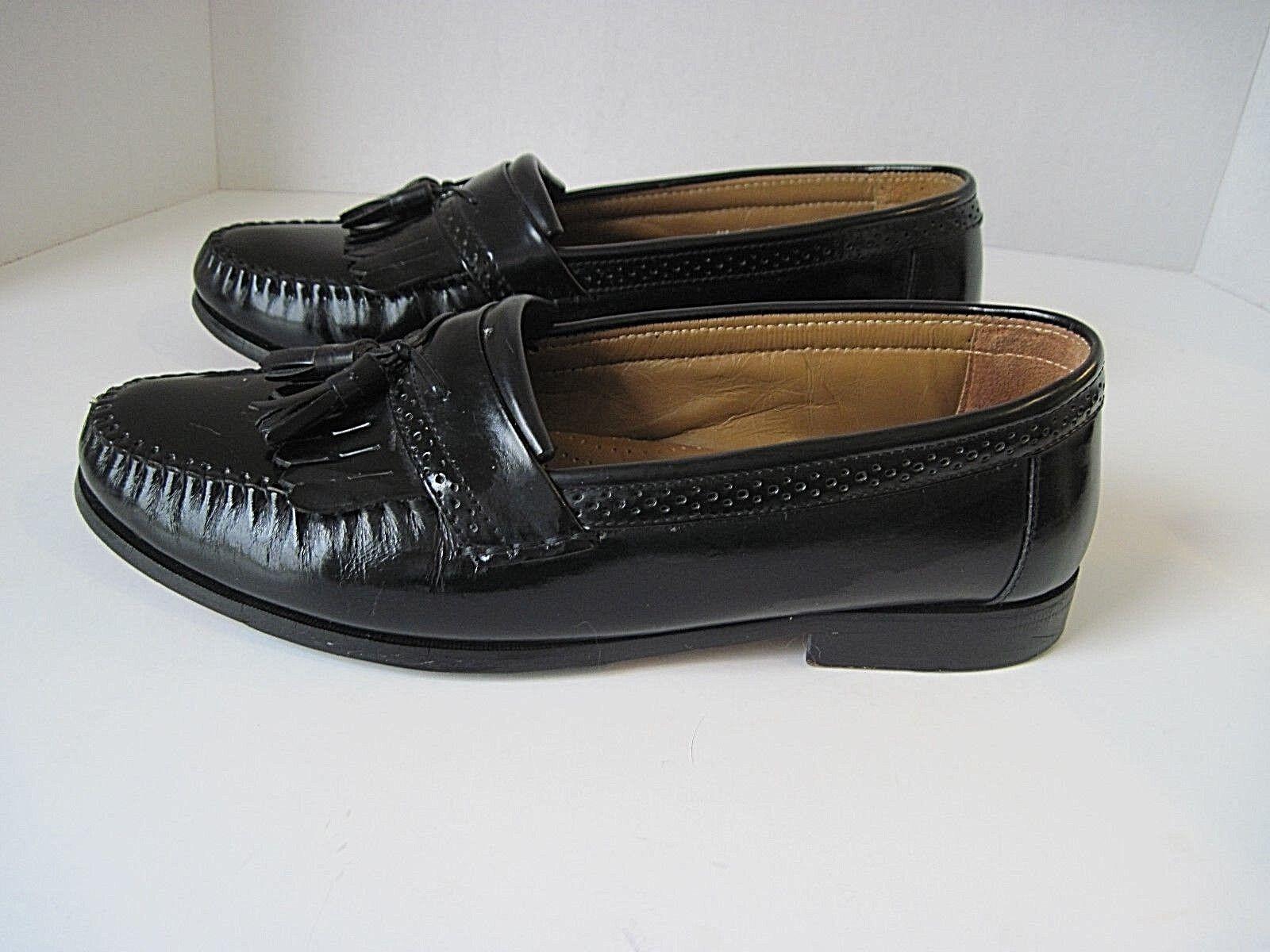 GH Bass & Co. Moc Toe Men's Loafers Black Leather Leather Black Kiltie Tassel Casual Size 11EE 9d0acf