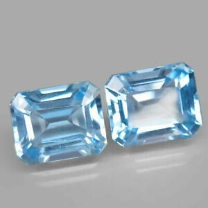 11.63 Carats IF Pair NATURAL Sky Blue TOPAZ for Jewelry Setting 11x9mm Octagon