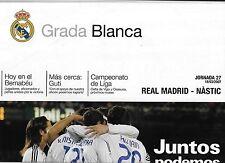 GRADA BLANCA Football Programme/Newspaper REAL MADRID v GIMNASTIC Mar 2007
