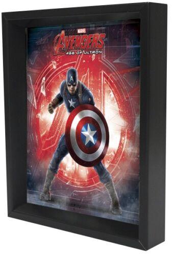 AVENGERS AGE OF ULTRON CAPTAIN AMERICA 3D LENTICULAR SHADOW BOX 8X10 MARVEL HERO