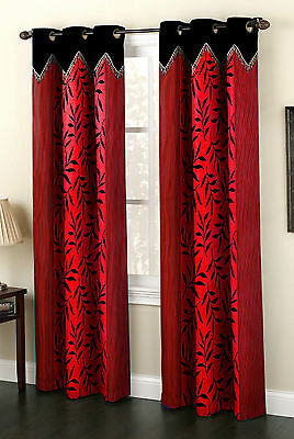 Homefab India Set of 2 Designer Kolaveri Red Curtains (HF504)
