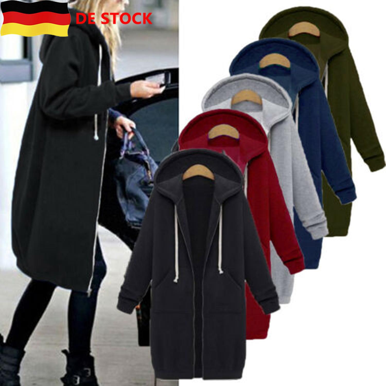 Damen Übergangsjacke Hoodie Warm Winter Sweatjacke Kapuzen Lang Jacke Mantel DE