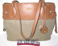 Michael Kors Gold Canvas & Leather Marina Large Drawstring Tote Bag $248
