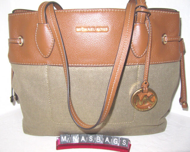 30f6f564ea03 Michael Kors Gold Canvas & Leather Marina Large Drawstring Tote Bag NWT $248