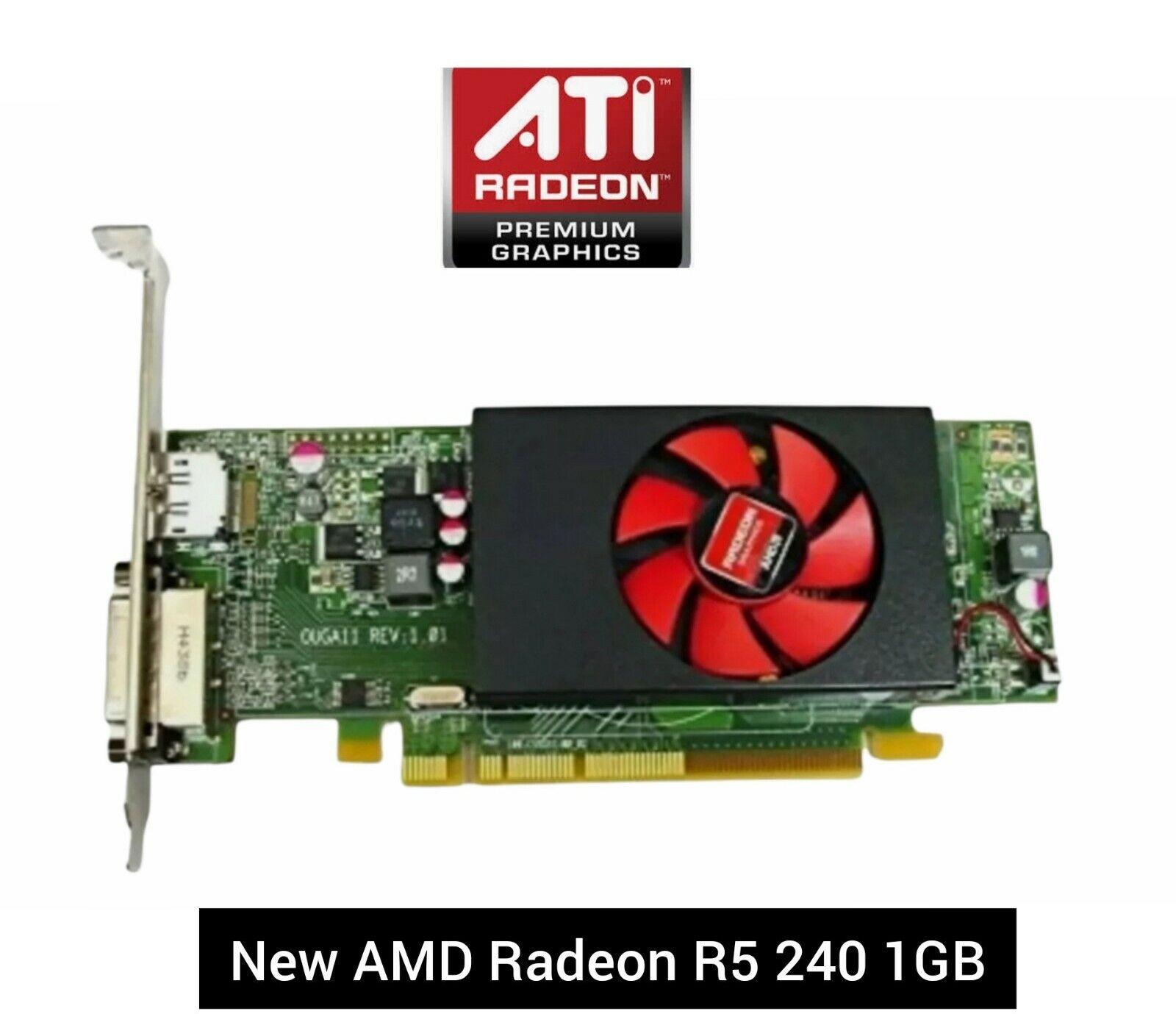 Dell ATI AMD Radeon R5 240 PCI-E Graphics Card 1Gb , DVI & DisplayPort P/N 7W12P