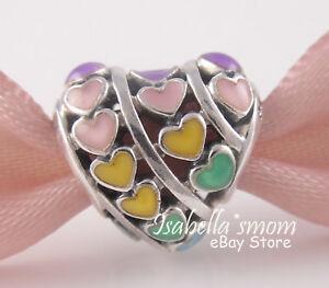 b22864001 Image is loading RAINBOW-HEARTS-Authentic-PANDORA-Colorful-ENAMEL-LOVE-Charm -