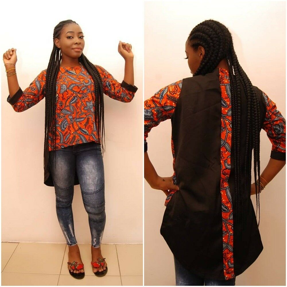 Superbe Africain Traditionnel Manches 3/4 Ankara Top-taille Uk 14-16 (#a5)