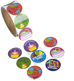 Happy Birthday Sticker Rolls 100 count
