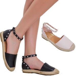 Zapatos-sandalias-de-mujer-esclavo-cinturon-fondo-cuerda-alpargatas-tachuelas