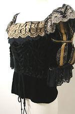 Vintage Off-Shoulder Black Burnout Velvet Lace Ribbon Trim Peplum LS Corset Top