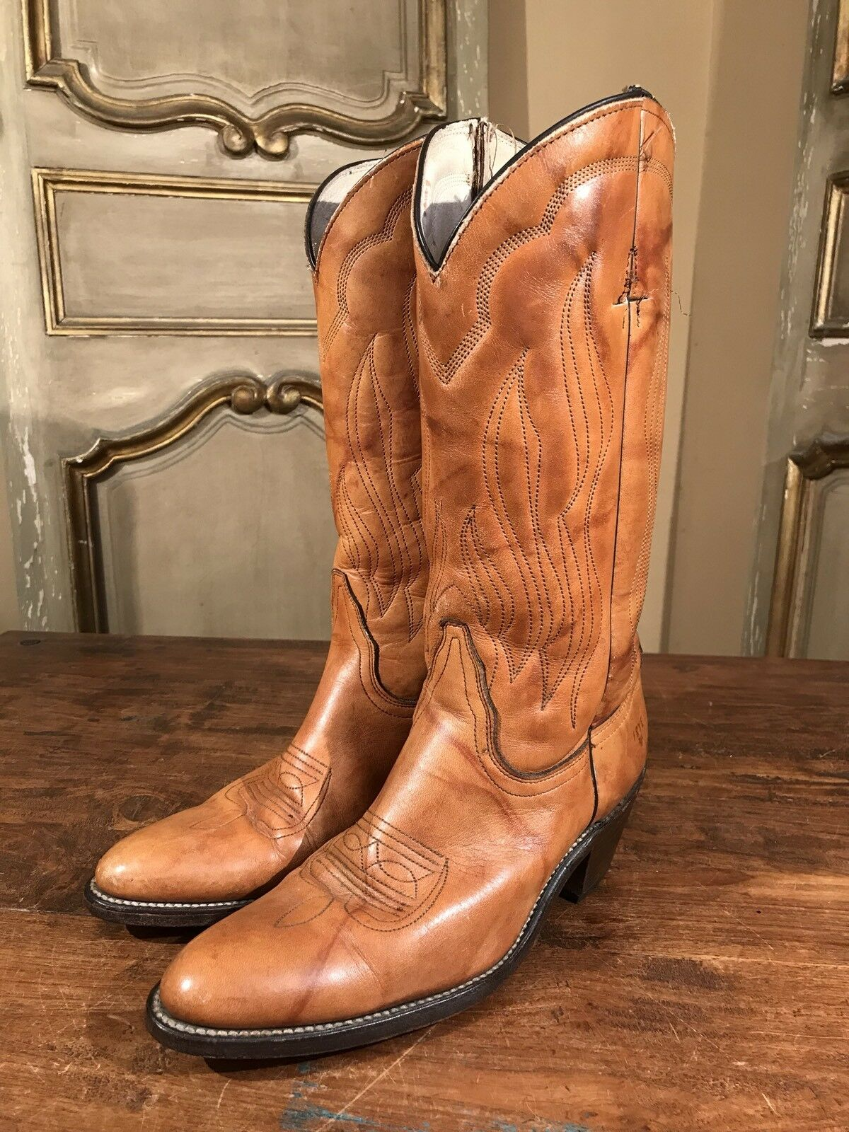 Vintage Frye Mens Campus Cowboy Western Moto Boots 1970's Size 9.5 B