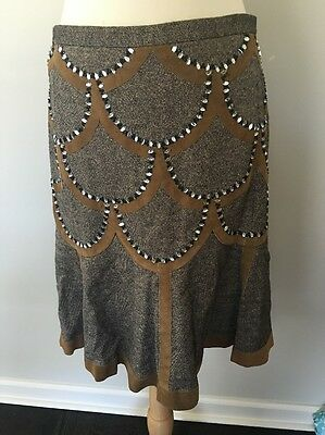 Shanghai Tang Wool Silk & Suede Embellished A Line Skirt EUC Sz Large