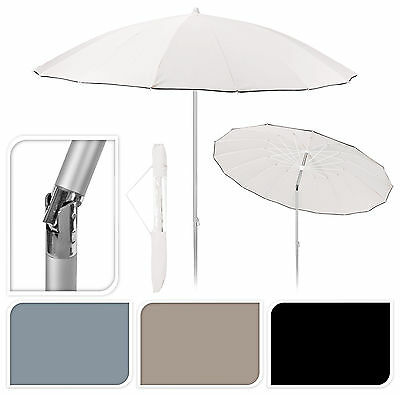 2.4M Outdoor Brushed Aluminium Shanghai Garden Parasol Umbrella with Tilt