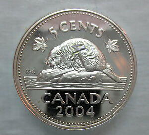 2004-CANADA-5-CENTS-PROOF-SILVER-NICKEL-HEAVY-CAMEO-COIN