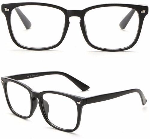 Schwarz Acryl Quadratisches Gestell Durchsichtige Linse Mode Brille Damen Herren