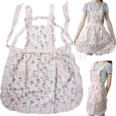 New Women Home Kitchen Cooking Bib Flower Style Pocket Lace Apron Dress Gift