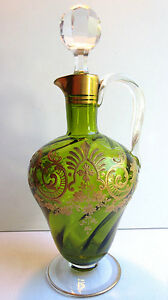 Carafe-aiguiere-piriforme-cristal-torse-BACCARAT-vert-emaille-Or-style-Louis-XV