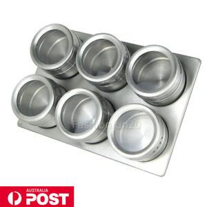 Stainless Steel Magnetic Spice Rack Herb Pot Jar Kitchen ...
