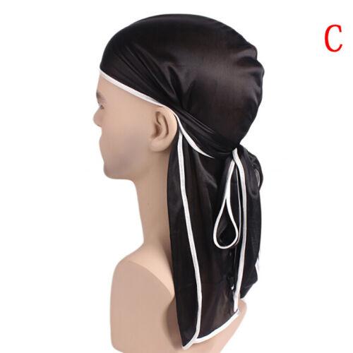 Satin Breathable Bandana Hat Silky Durag Do Doo Du Rag Long Tail Headwrap LI